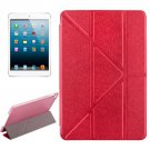 For iPad Mini 4 Red Transformers Style Silk Texture Solid Color Leather Case with Holder