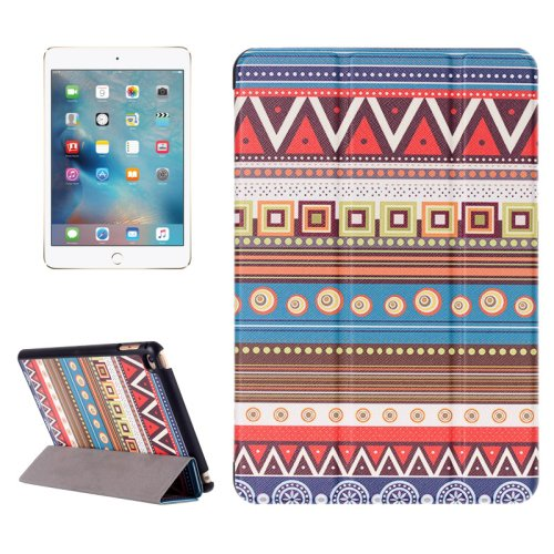 For iPad Mini 4 Tribal Pattern Karst Smart Cover Leather Case with 3 Fold Holder