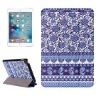 For iPad Mini 4 Flower Pattern Karst Smart Cover Leather Case with 3 Fold Holder