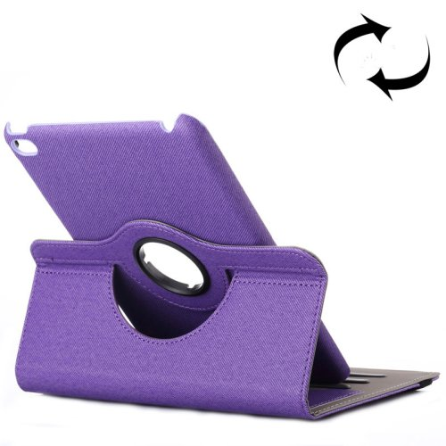 For iPad Mini 4 Purple Cloth 360° Rotating Smart Cover Leather Case with Holder & Card Slots