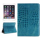 For iPad Mini 4 Blue Crocodile Smart Cover Leather Case with Holder, Card Slots & Wallet