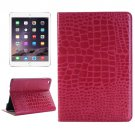 For iPad Mini 4 Magenta Crocodile Smart Cover Leather Case with Holder, Card Slots & Wallet