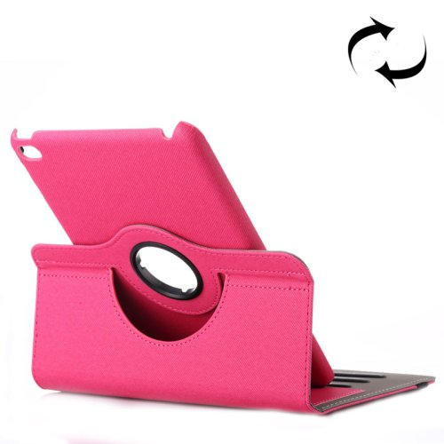 For iPad Mini 4 Magenta Cloth 360° Rotating Smart Cover Leather Case with Holder & Card Slots