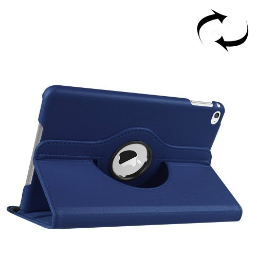 For iPad Mini 4 Dark Blue Litchi Texture 360° Rotating Smart Leather Case with Holder