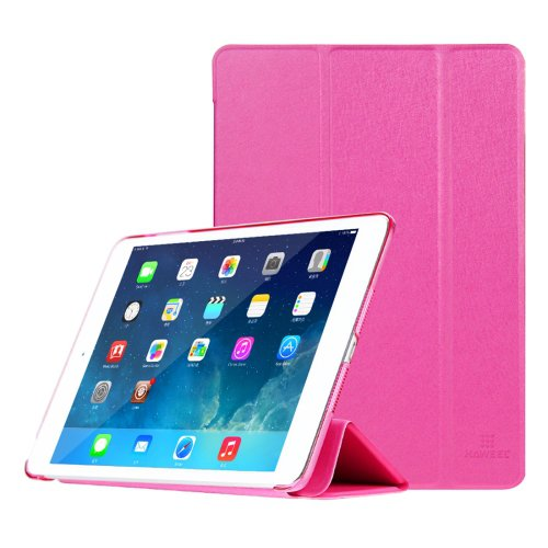 For iPad Mini 1/2/3 Magenta HAWEEL 3-folding Smart Case Clear Back Cover with Holder