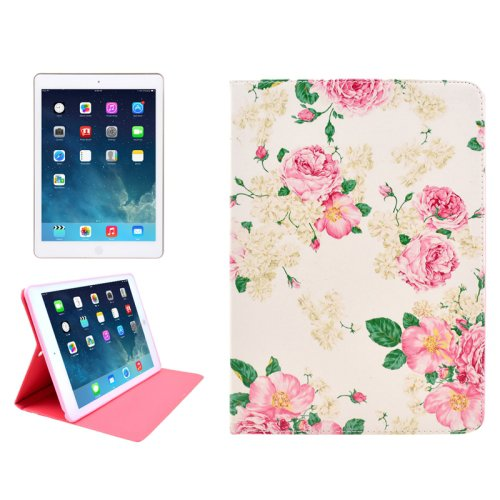 For iPad Mini 1/2/3 Flowers Pattern Protective PU Smart Cover Leather Case with Card Slot