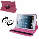 For iPad Mini 1/2/3 Magenta 360° Rotatable Litchi Texture Leather Case with Holder