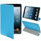 For iPad Mini 1/2/3 Blue 3-fold Smart Cover PU Leather Case