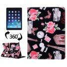 For iPad Air 2/iPad 6 Black Eiffel Tower Pattern 360° Rotation Leather Case with 3 Gears Holder