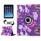 For iPad Air 2/iPad 6 Purple Eiffel Tower Pattern 360° Rotation Leather Case with 3 Gears Holder