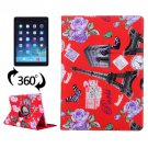 For iPad Air 2/iPad 6 Red Eiffel Tower Pattern 360° Rotation Leather Case with 3 Gears Holder