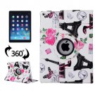 For iPad Air 2/iPad 6 White Eiffel Tower Pattern 360° Rotation Leather Case with 3 Gears Holder