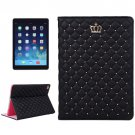 For iPad Air 2/iPad 6 Black Crown Plaid Texture Horizontal Flip Smart Leather Case with Holder