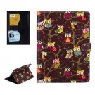 For iPad Air 2 / iPad 6 Owls Pattern Brown Cross Smart Cover Leather Case with Card Slots & Holder