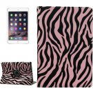 For iPad Air 2 Pink 360° Rotation Zebra Pattern Leather Case with 3 Gears Holder