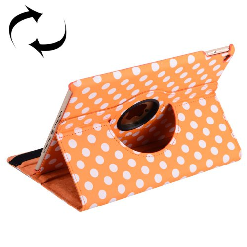 For iPad Air 2 Orange 360° Rotation Dot Pattern Leather Case with 3 Gears Holder
