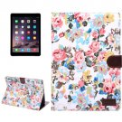 For iPad Air 2 White Flower Pattern Leather Case with Holder, Card Slots & Sleep Function