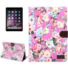 For iPad Air 2 Magenta Flower Pattern Leather Case with Holder, Card Slots & Sleep Function