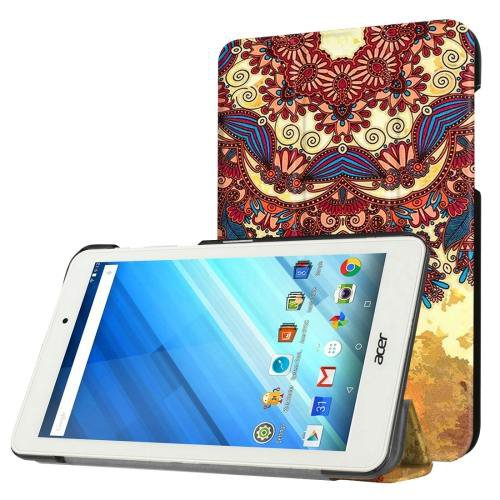 For Acer Iconia One 8 National Style Pattern Leather Case with 3 fold Holder