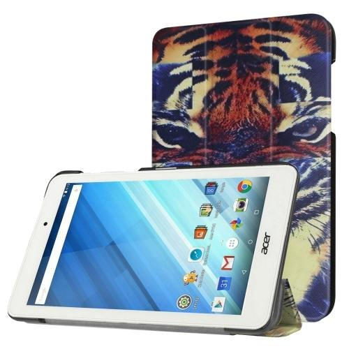 For Acer Iconia One 8 Tiger Pattern Leather Case with 3 fold Holder
