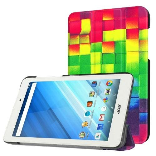For Acer Iconia One 8 Grid Pattern Leather Case with 3 fold Holder