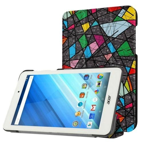 For Acer Iconia One 8 Abstract Pattern Leather Case with 3 fold Holder