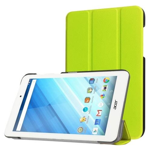 For Acer Iconia One 8 Green Custer Texture Leather Case with 3 fold Holder