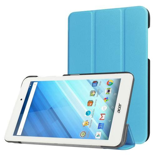 For Acer Iconia One 8 Blue Custer Texture Leather Case with 3 fold Holder