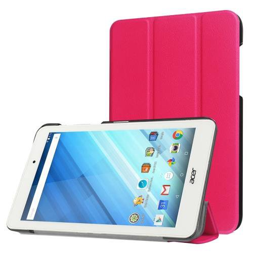 For Acer Iconia One 8 Magenta Custer Texture Leather Case with 3 fold Holder