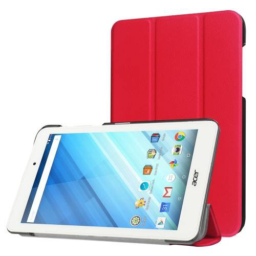 For Acer Iconia One 8 Red Custer Texture Leather Case with 3 fold Holder