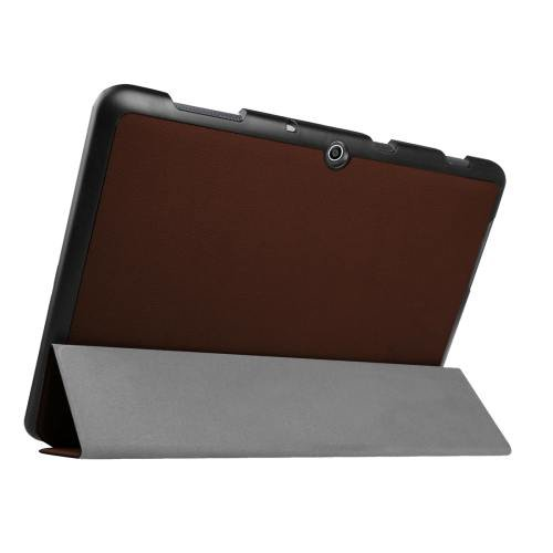For Acer Iconia One 10 Coffee Custer Texture Leather Case with 3 fold Holder