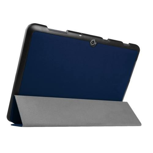 For Acer Iconia One 10 Dark Blue Custer Texture Leather Case with 3 fold Holder
