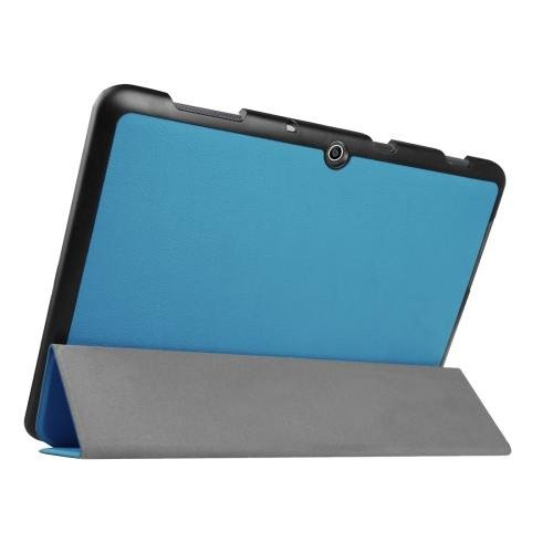 For Acer Iconia One 10 Blue Custer Texture Leather Case with 3 fold Holder
