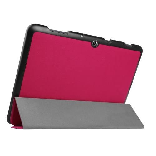 For Acer Iconia One 10 Magenta Custer Texture Leather Case with 3 fold Holder
