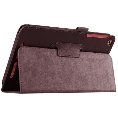 For Acer Iconia One 8 Coffee Litchi Solid Color Leather Case with Holder