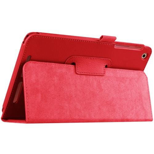 For Acer Iconia One 8 Red Litchi Solid Color Leather Case with Holder