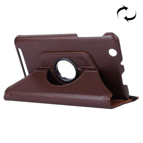 For Acer Iconia One 7 Brown Litchi Rotating Leather Case with 2 Gears Holder