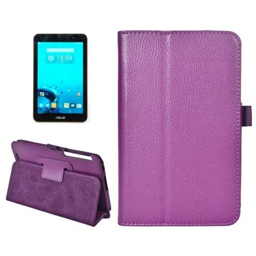 For ASUS MeMo Pad 7 Purple Litchi Texture Flip Leather Case with Holder