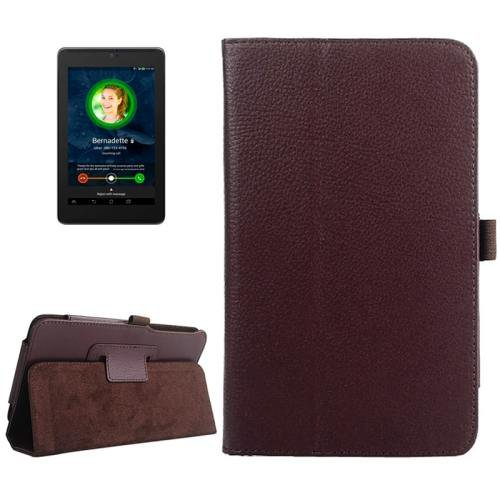 For ASUS Fonepad 7 Coffee Litchi Texture Leather Case with Holder