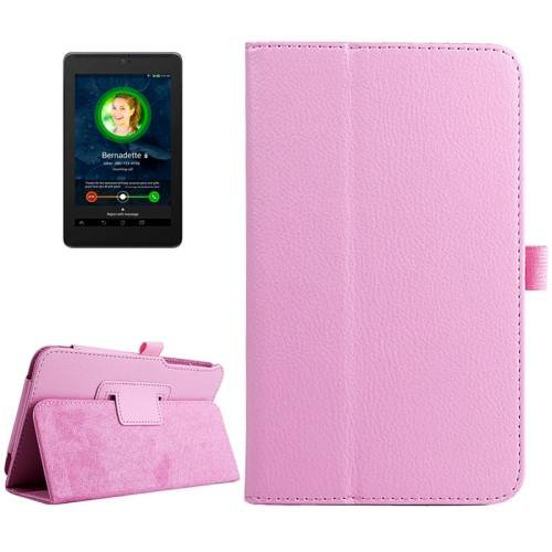 For ASUS Fonepad 7 Pink Litchi Texture Leather Case with Holder