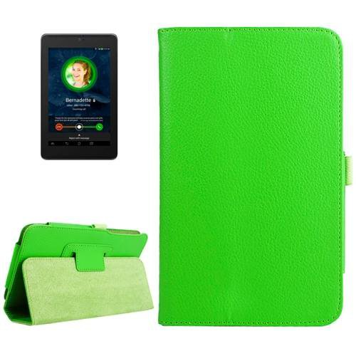 For ASUS Fonepad 7 Green Litchi Texture Leather Case with Holder