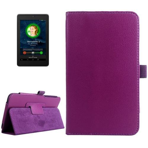 For ASUS Fonepad 7 Purple Litchi Texture Leather Case with Holder