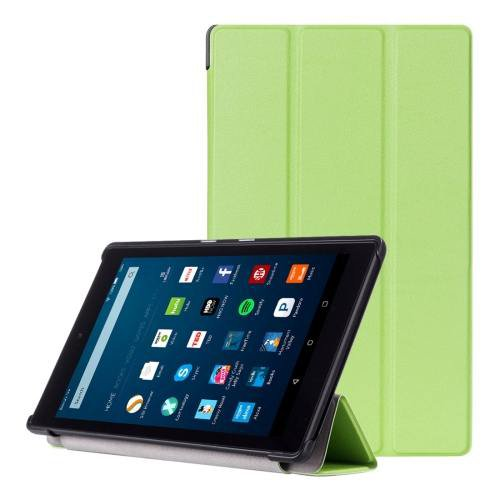 For Amazon Fire HD 8 Green Custer Leather Case with 3 Fold Holder