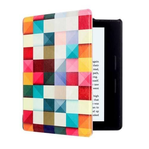 For Amazon Kindle Oasis Cube Pattern Horizontal Flip Leather Case