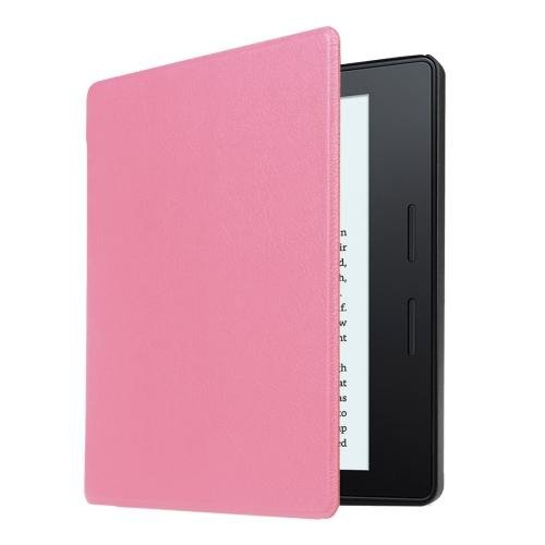 For Amazon Kindle Oasis Pink Custer Leather Case with 3 fold holder