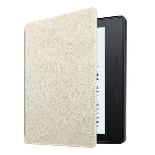 For Amazon Kindle Oasis Beige Custer Leather Case with 3 fold holder