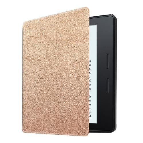 For Amazon Kindle Oasis Khaki Custer Leather Case with 3 fold holder