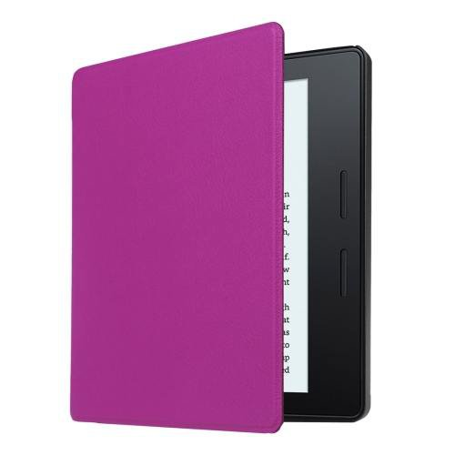 For Amazon Kindle Oasis Purple Custer Leather Case with 3 fold holder
