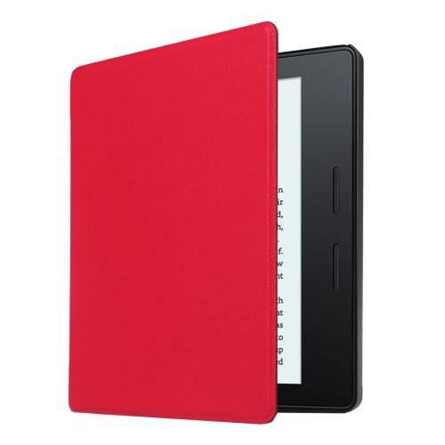 For Amazon Kindle Oasis Red Custer Leather Case with 3 fold holder