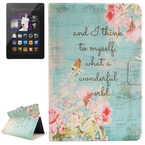 For Amazon Kindle Fire Flowers Patterns Leather Case with Holder & Card Slots